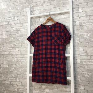 Madewell Short Sleeve Shirt Dress Edina Plaid - M